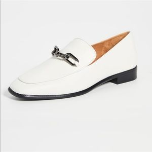 Rag & Bone Aslen Square-Toed White Loafers Chain Detailing Size 40